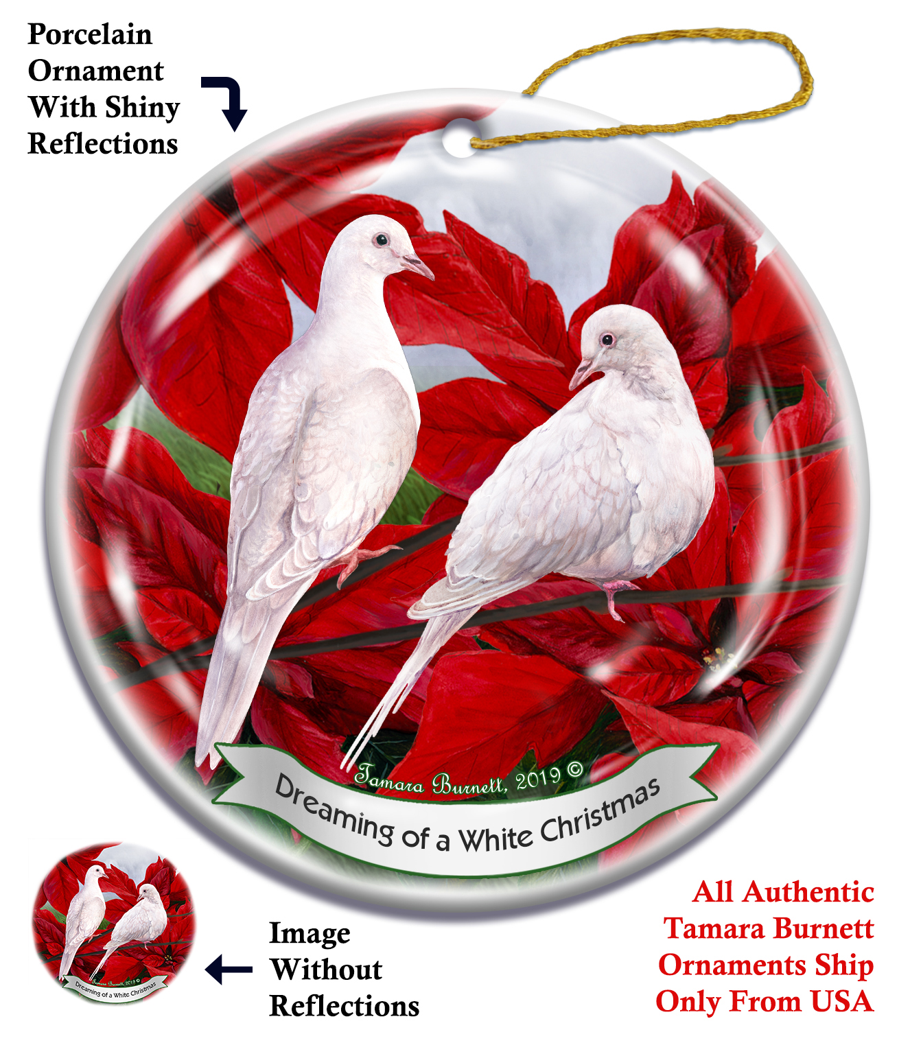 White Doves - Up To Snow Good Ornament Image