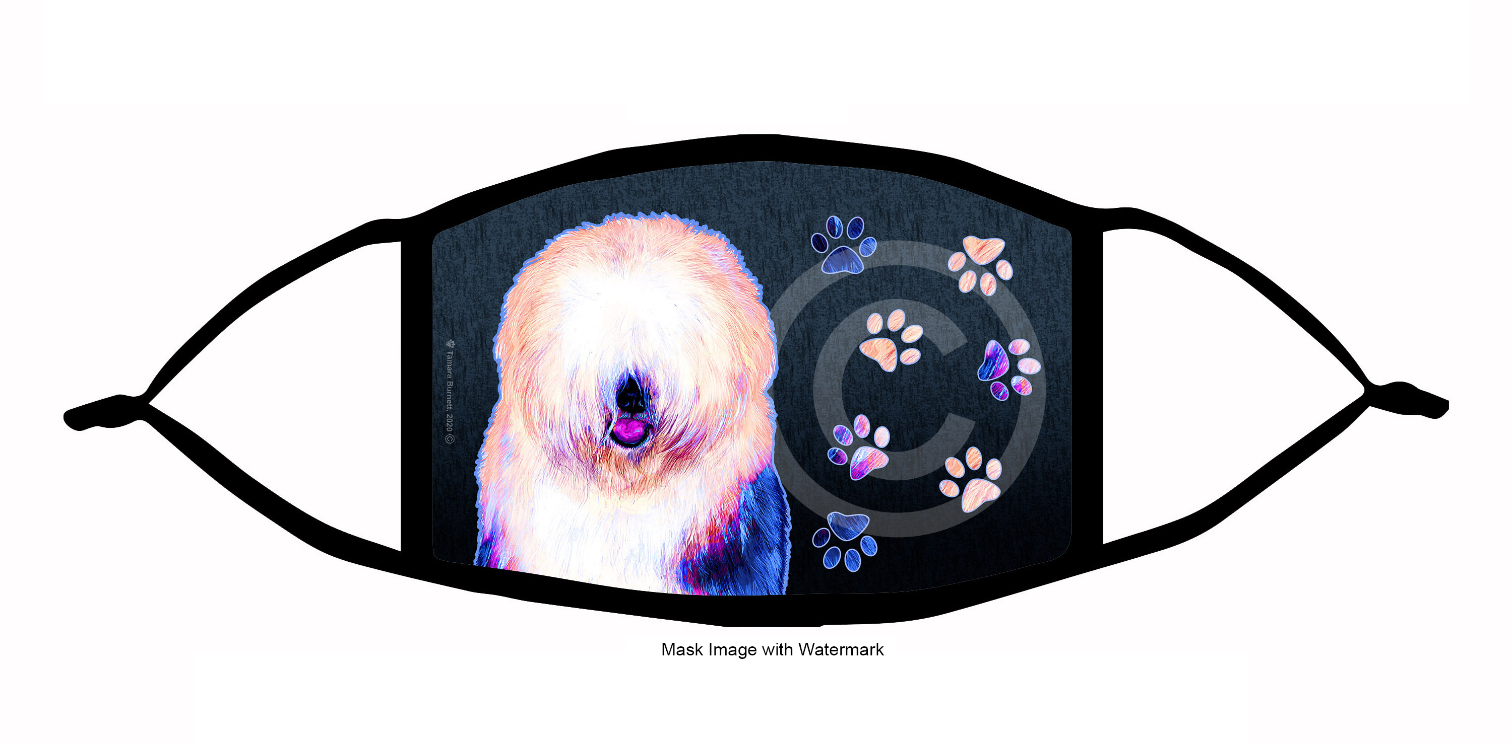 An image of product 10148 Old English Sheepdog Funky Pups Cloth Face Mask