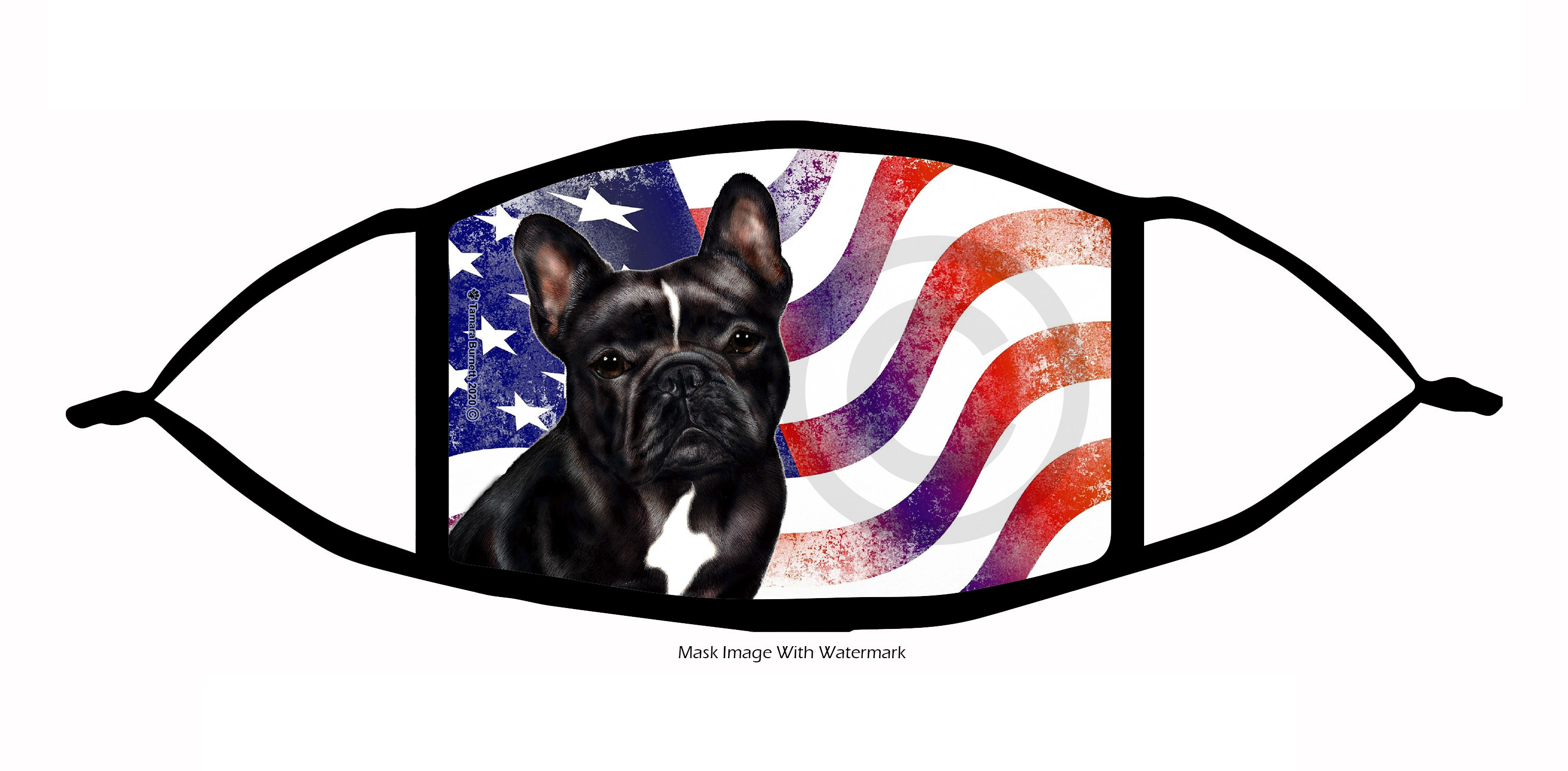 An image of the French Bulldog (Black and White) Patriotic Pups Cloth Face Mask