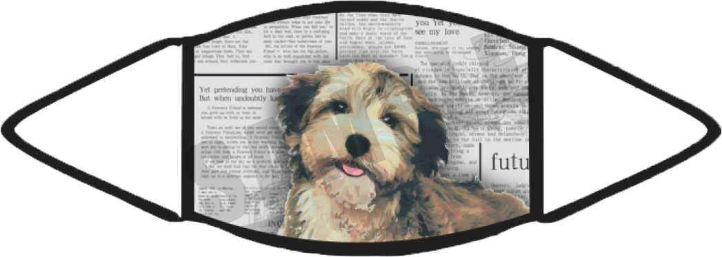 Morkie Pawies Face Mask (Newspaper) image