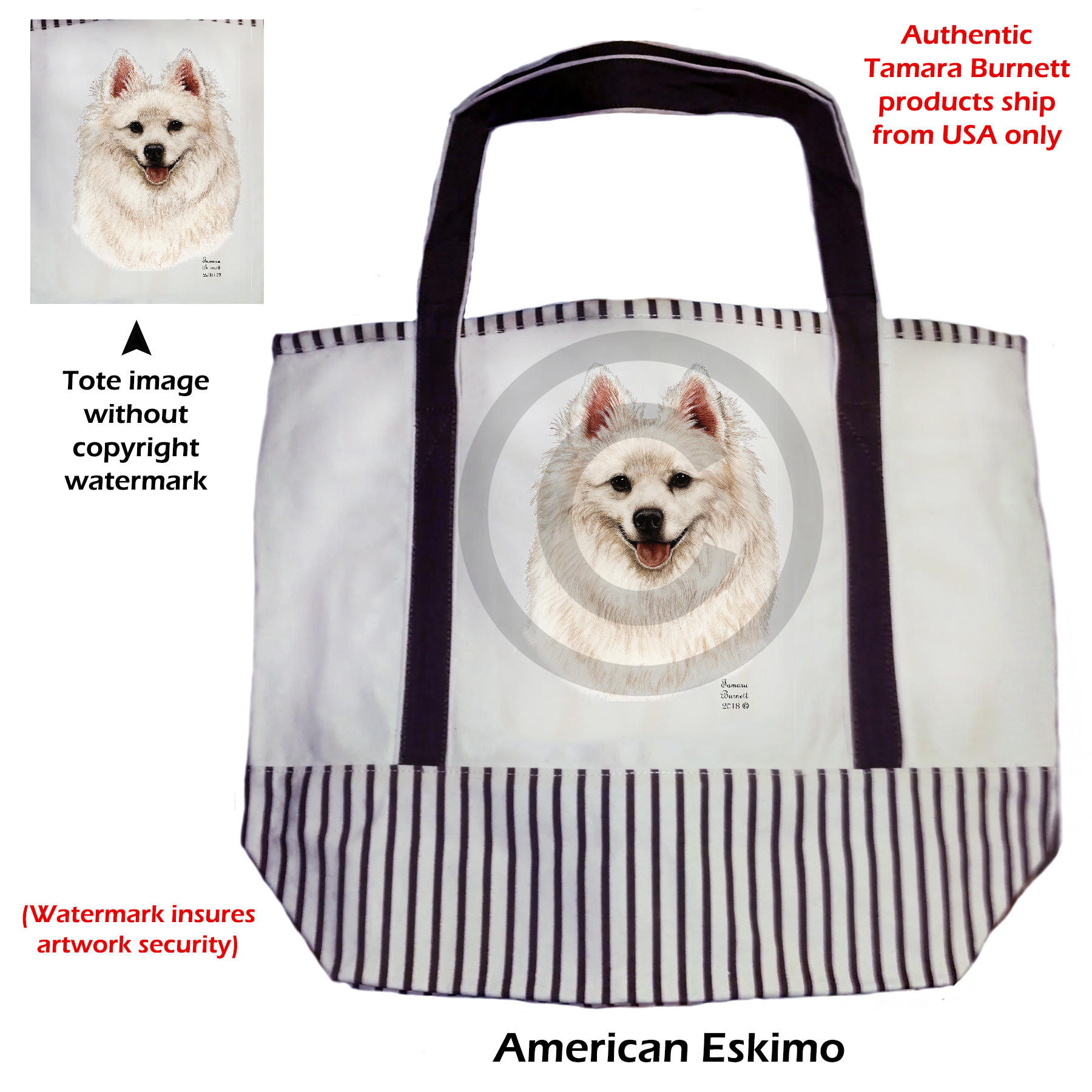 An image of the American Eskimo  Tote Bag
