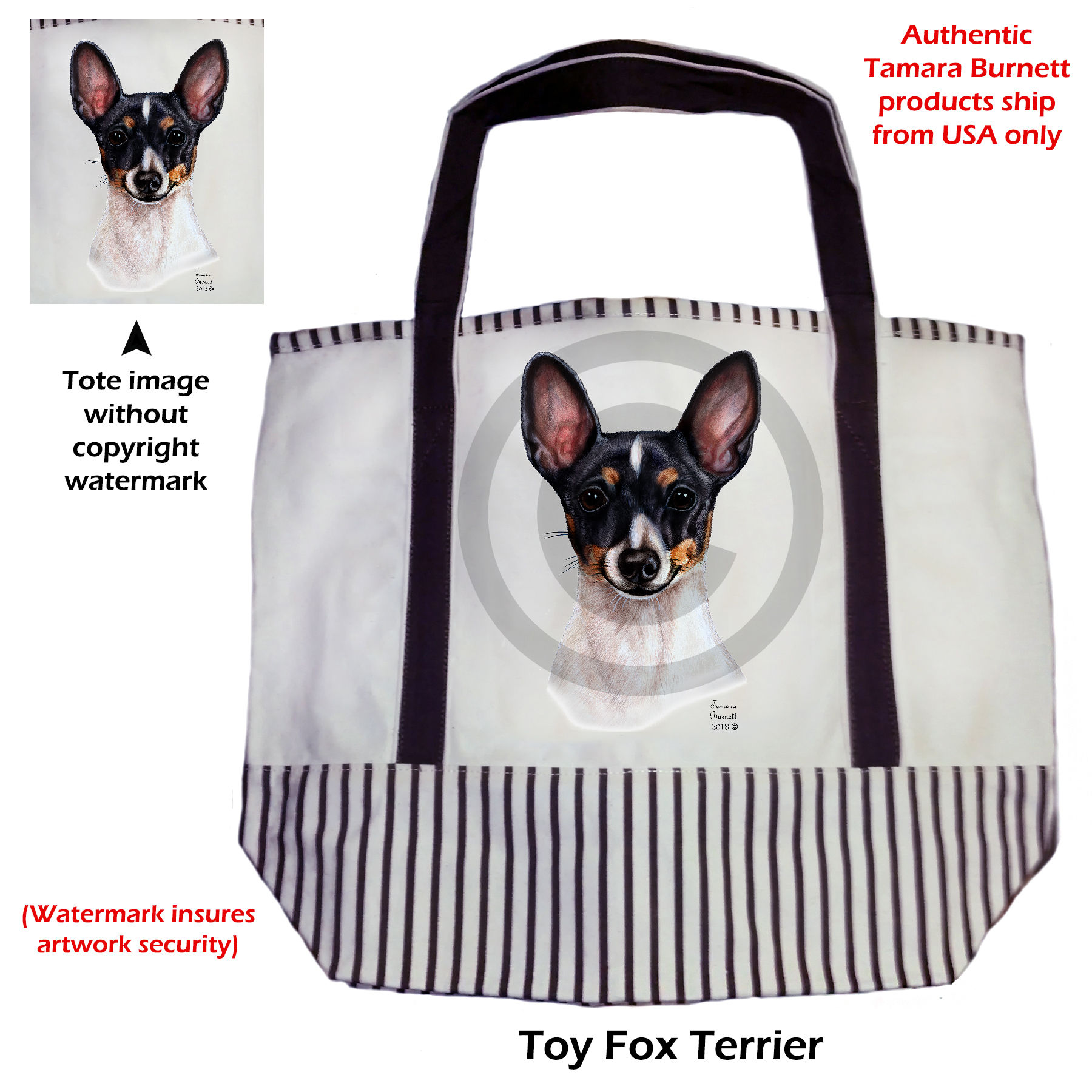 An image of the Toy Fox Terrier Blk Tri  Tote Bag