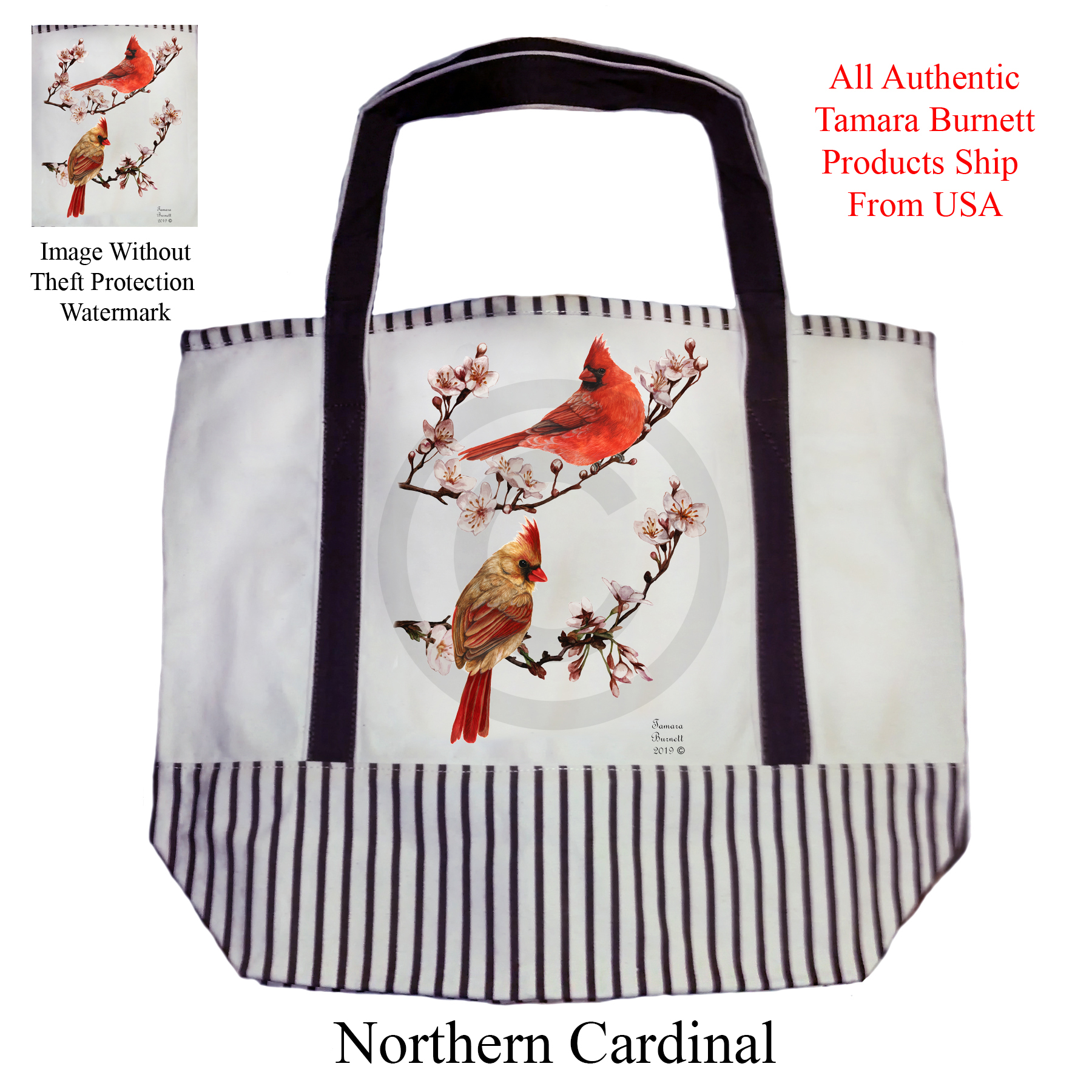 An image of product 11241 Cadinal (Northern)  Tote Bag