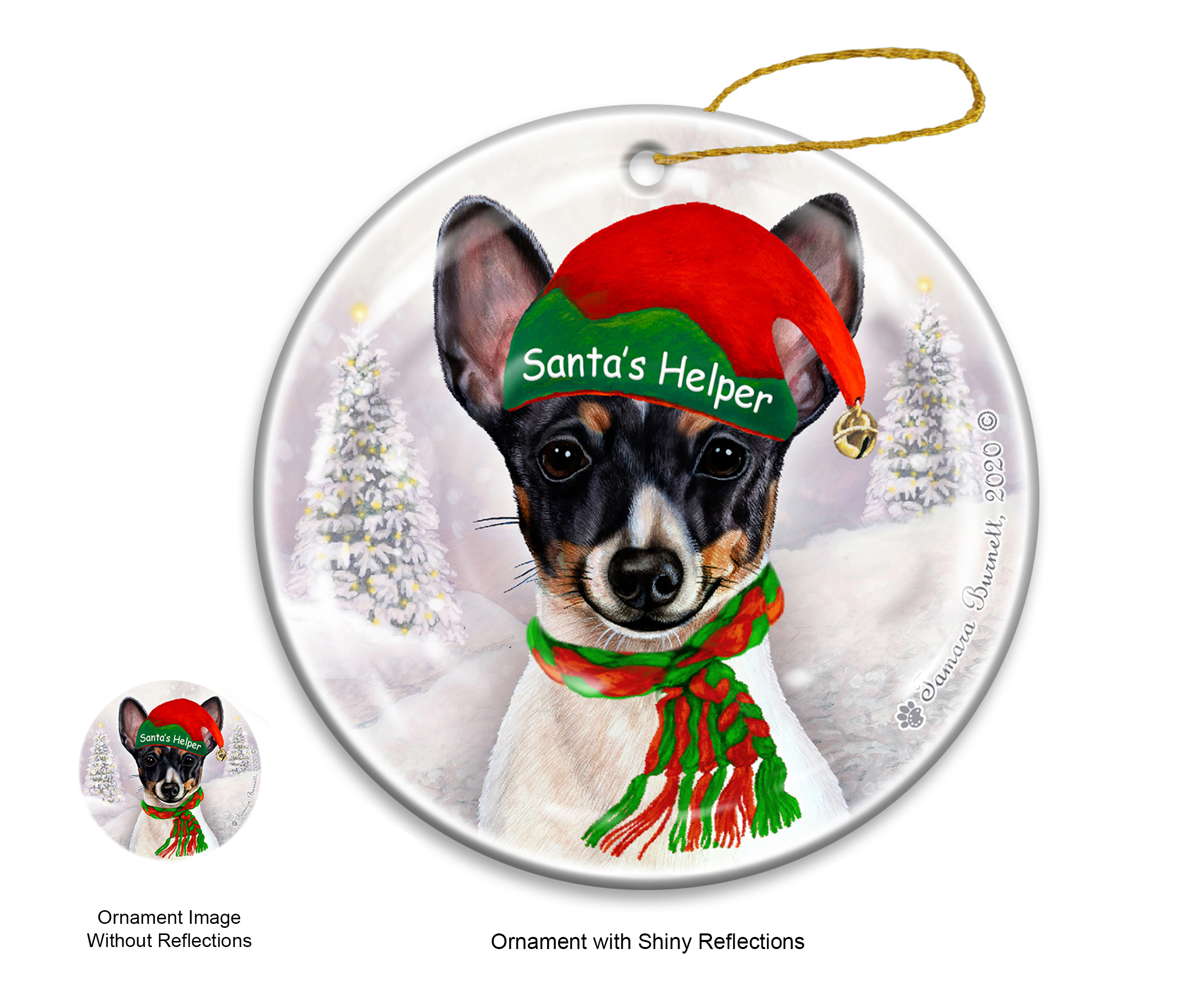 An image of the Toy Fox Terrier Blk Tri - Santa's Helper Ornament