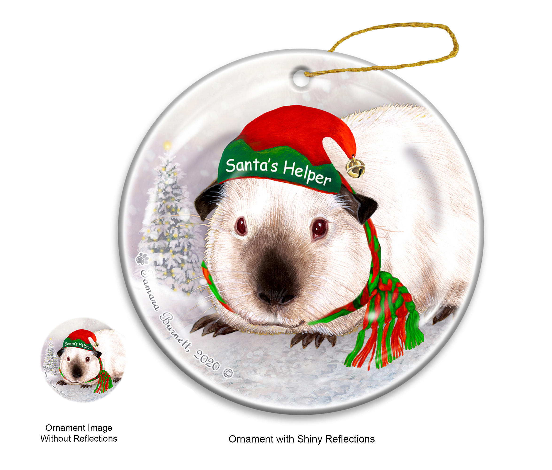 An image of the Guinea Pig Himalayan - Santa's Helper Ornament