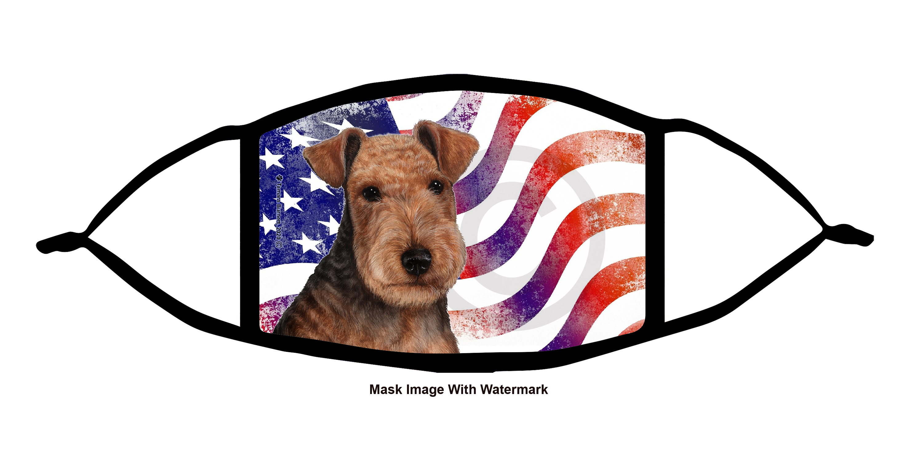 An image of product 12120 Lakeland Terrier Patriotic Pups Cloth Face Mask