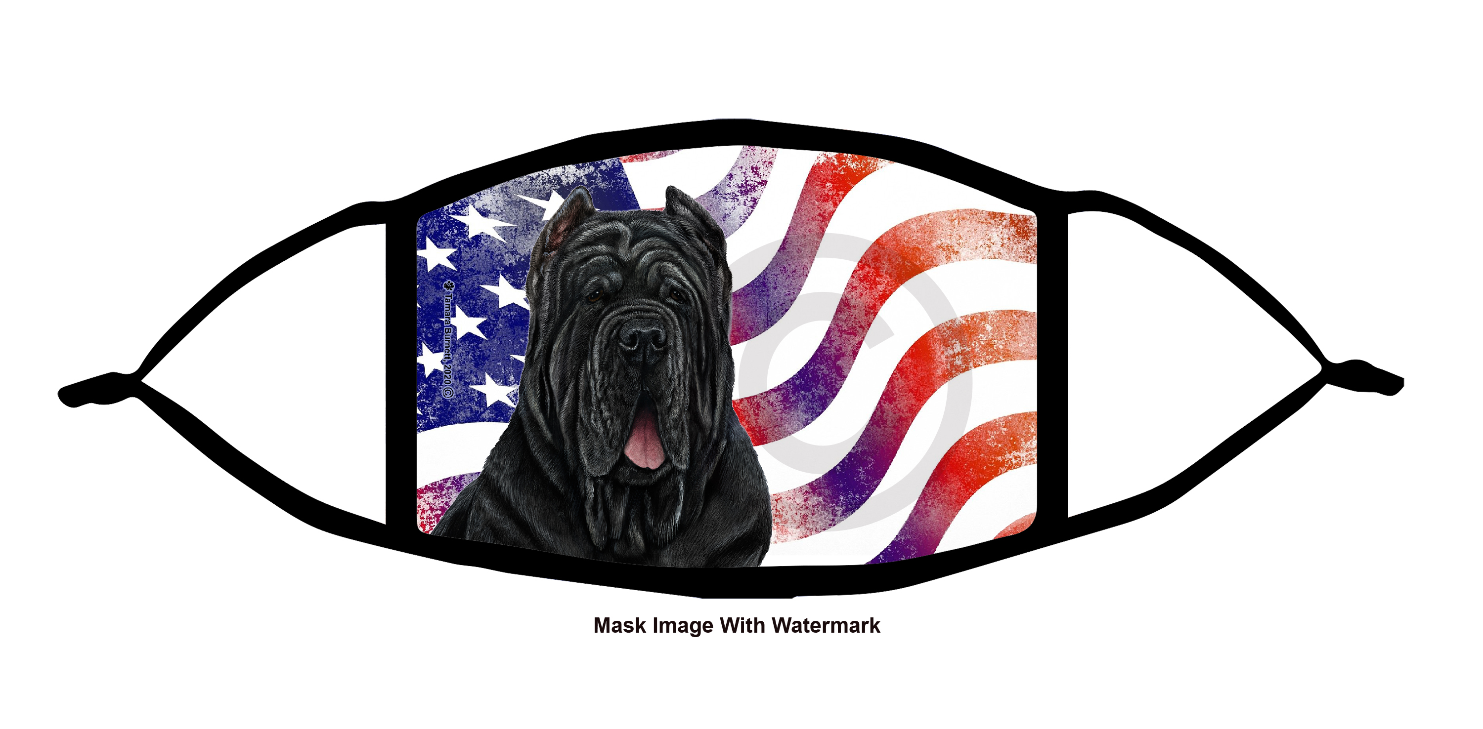 An image of product 12134 Neapolitan Mastiff (Black, Cropped) Patriotic Pups Cloth Face Mask