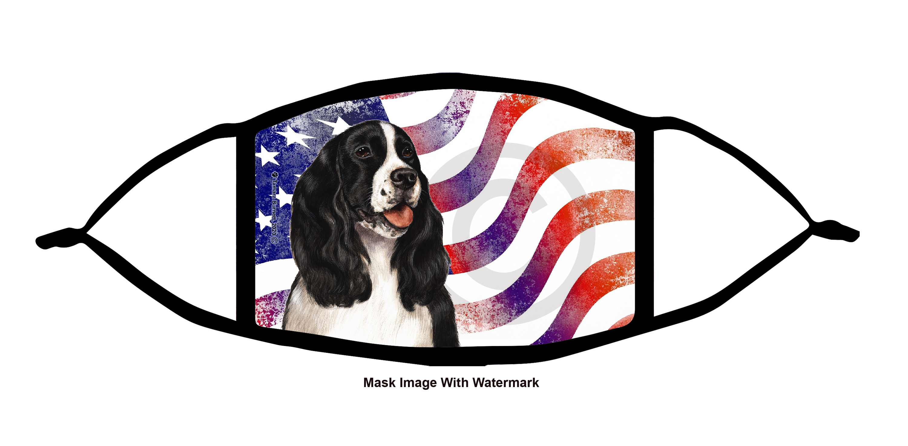 An image of product 12192 Springer Spaniel (Black and White) Patriotic Pups Cloth Face Mask