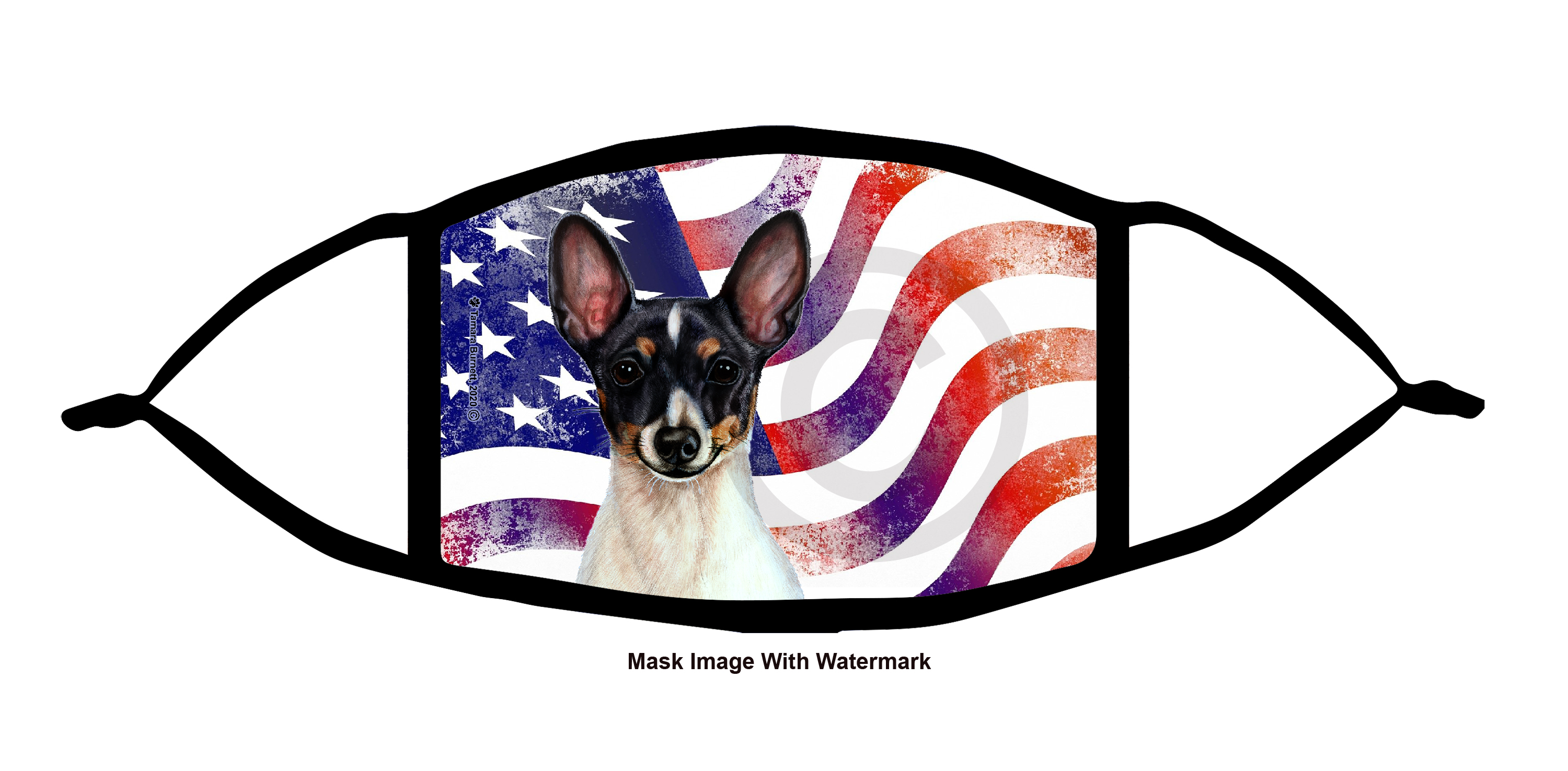 An image of product 12204 Toy Fox Terrier (Black Tri Color) Patriotic Pups Cloth Face Mask