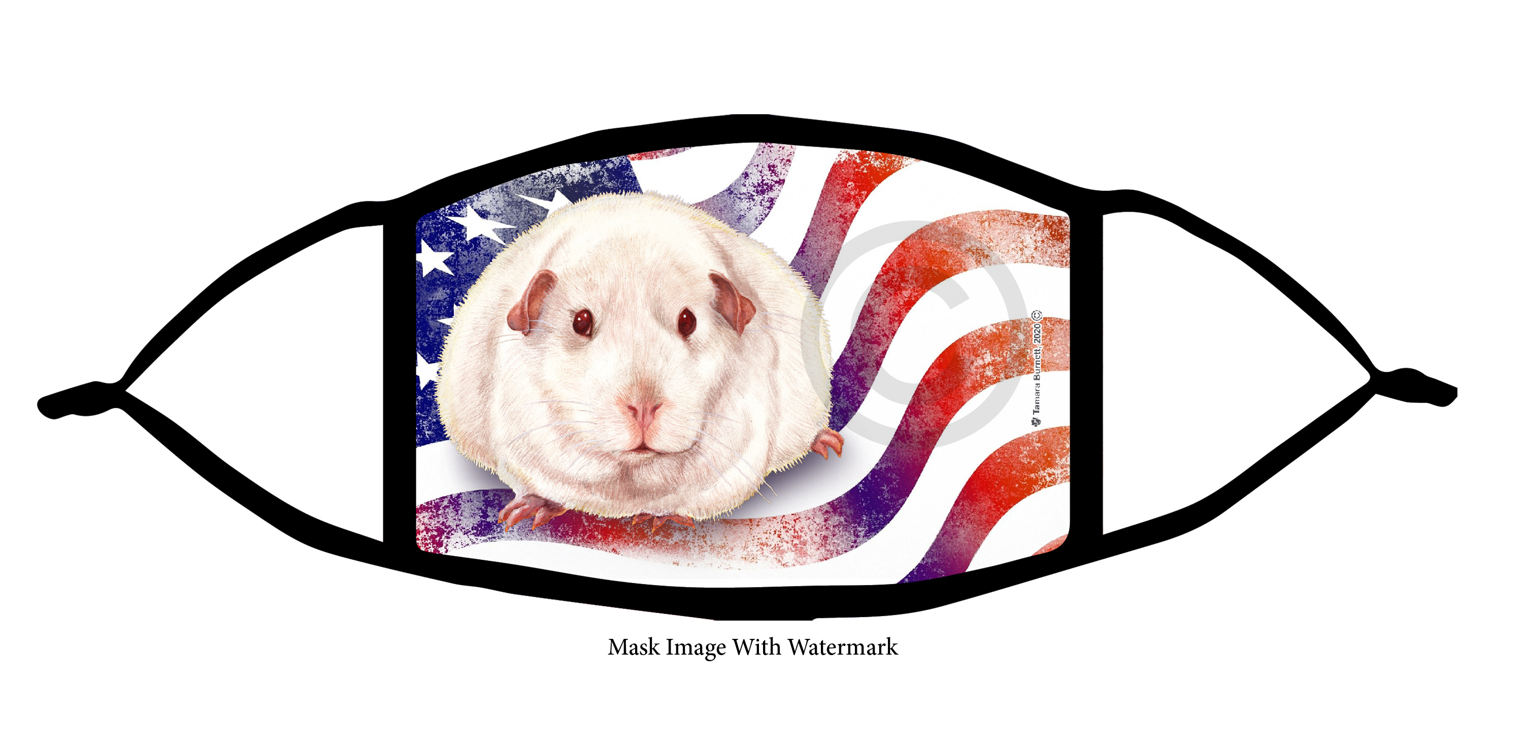 Guinea Pig (Pink Eyed White) Patriotic Pups Cloth Face Mask Image