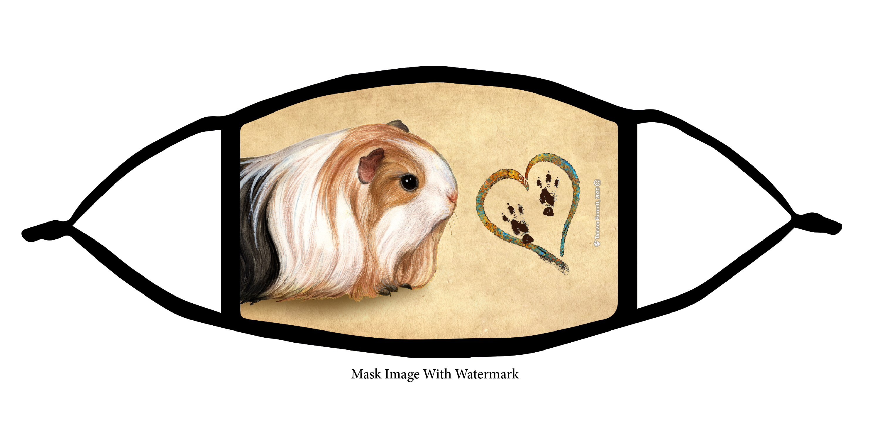 Guinea Pig (Silkie) Paws On My Heart Cloth Face Mask Image