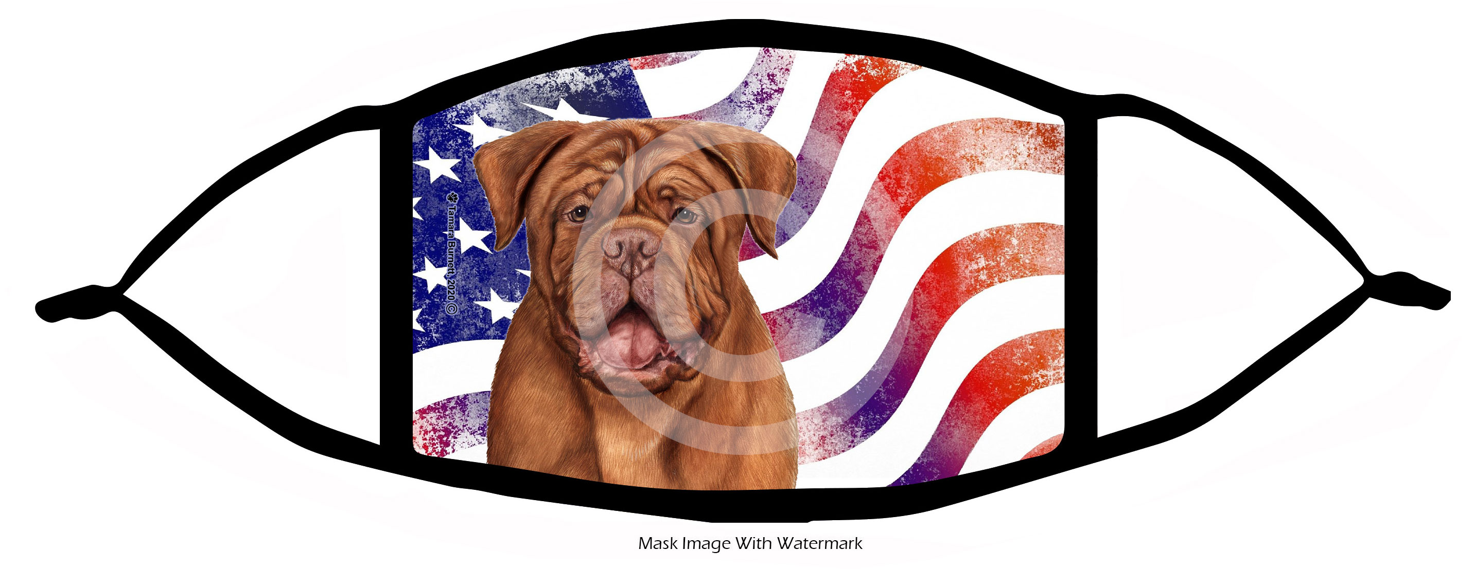 An image of product 12769 Dogue de Bordeaux Patriotic Pups Cloth Face Mask