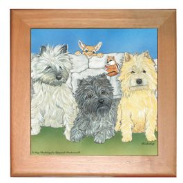 "An image of product 12807 Cairn Terrier Dog Kitchen Ceramic Trivet Framed in Pine 8"" x 8"""