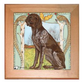 "An image of product 12881 German Pointer Dog Kitchen Ceramic Trivet Framed in Pine 8"" x 8"""