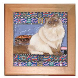 "An image of product 12907 Himalayan Cat Kitchen Ceramic Trivet Framed in Pine 8"" x 8"""