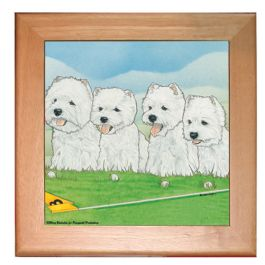 "An image of product 13029 West Highland Terrier Westie Dog Kitchen Ceramic Trivet Framed in Pine 8"" x 8"""