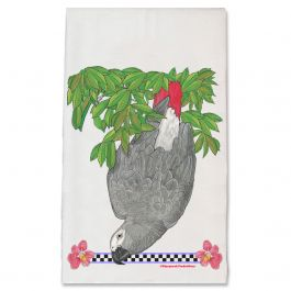 An image of product 13042 African Grey Parrot Floral Kitchen Dish Towel Pet Gift
