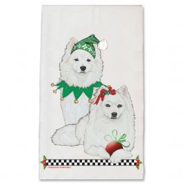 An image of product 13049 American Eskimo Eskie Dog Christmas Kitchen Towel Holiday Pet Gifts