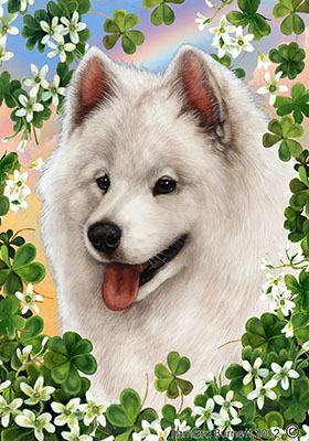 Samoyed Saint Patricks Scene - House Flag image sized 280 x 400