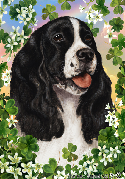 Springer Spaniel (Black & White) Saint Patricks Scene - Garden Flag image sized 420 x 600