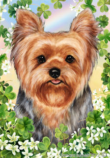 Yorkie (Puppy Cut) Saint Patricks Scene - House Flag image sized 224 x 320