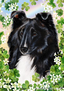 Sheltie (Bi Black) Saint Patricks Scene - House Flag image sized 224 x 320
