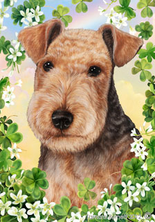 Lakeland Terrier (Black) Saint Patricks Scene - House Flag image sized 224 x 320