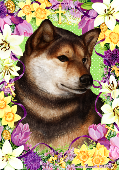 Easter Flowers Shiba Inu  (Red) - Garden Flag Image