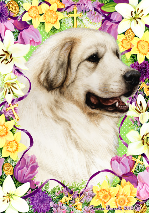 Easter Flowers Great Pyrenees - Garden Flag Image