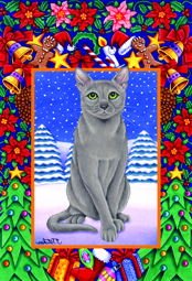 Christmas Russian Blue - Garden Flag Image