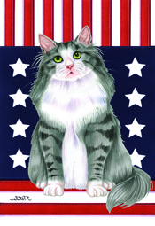 Patriotic Norwegian Forest  (Grey\/White) - Garden Flag Image