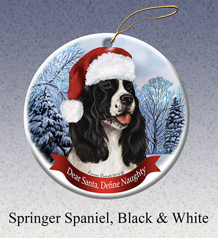 Springer Spaniel (Black & White) - Howliday Ornament image sized 450 x 491