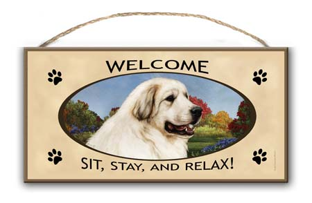 Great Pyrenees - Welcome Sign image sized 450 x 294