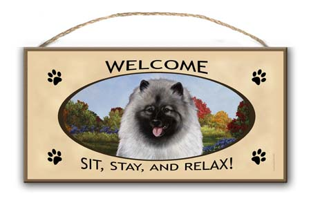 Keeshond - Welcome Sign image sized 450 x 294