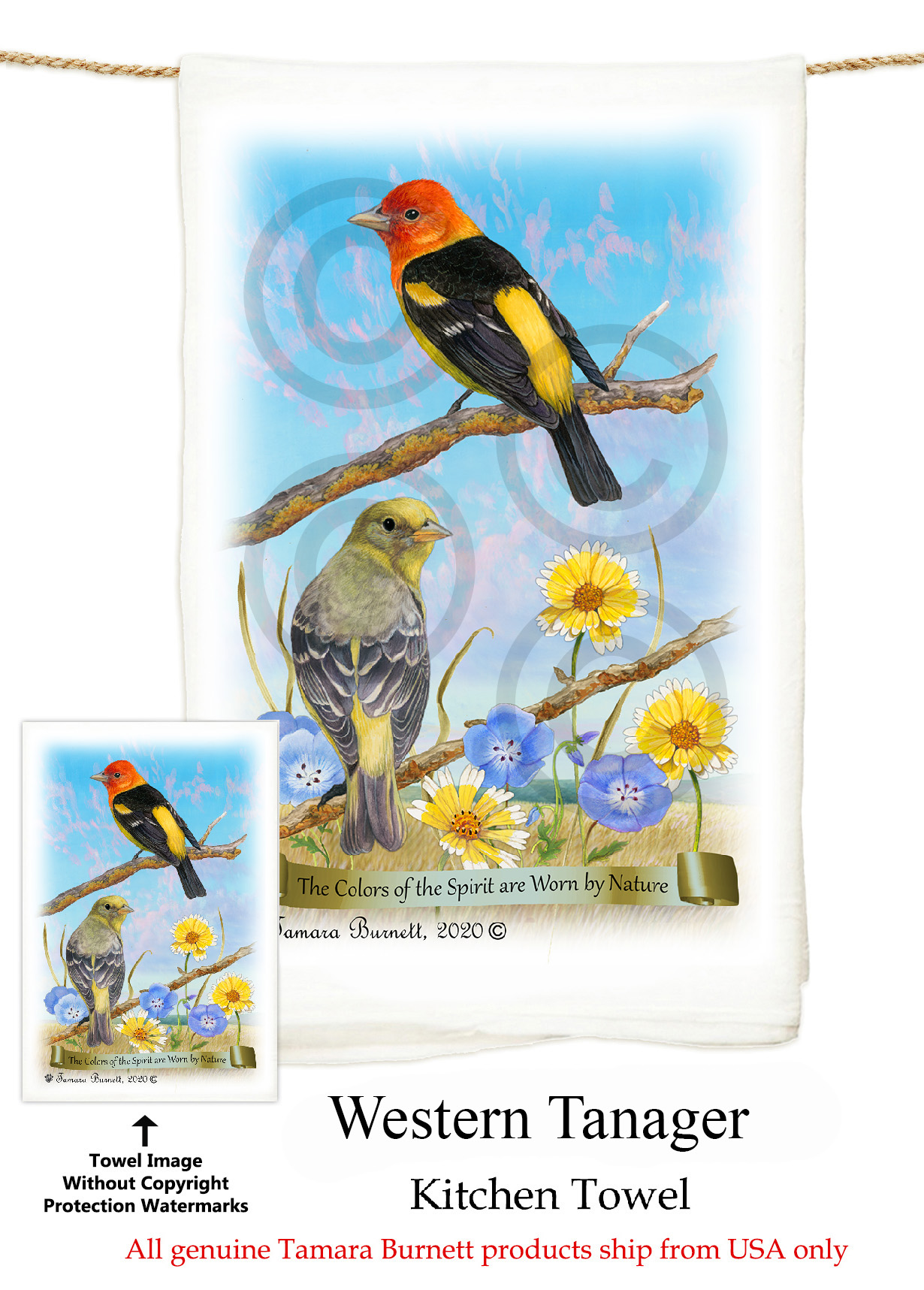 Western Tanager - Flour Sack Towel image sized 1230 x 1717