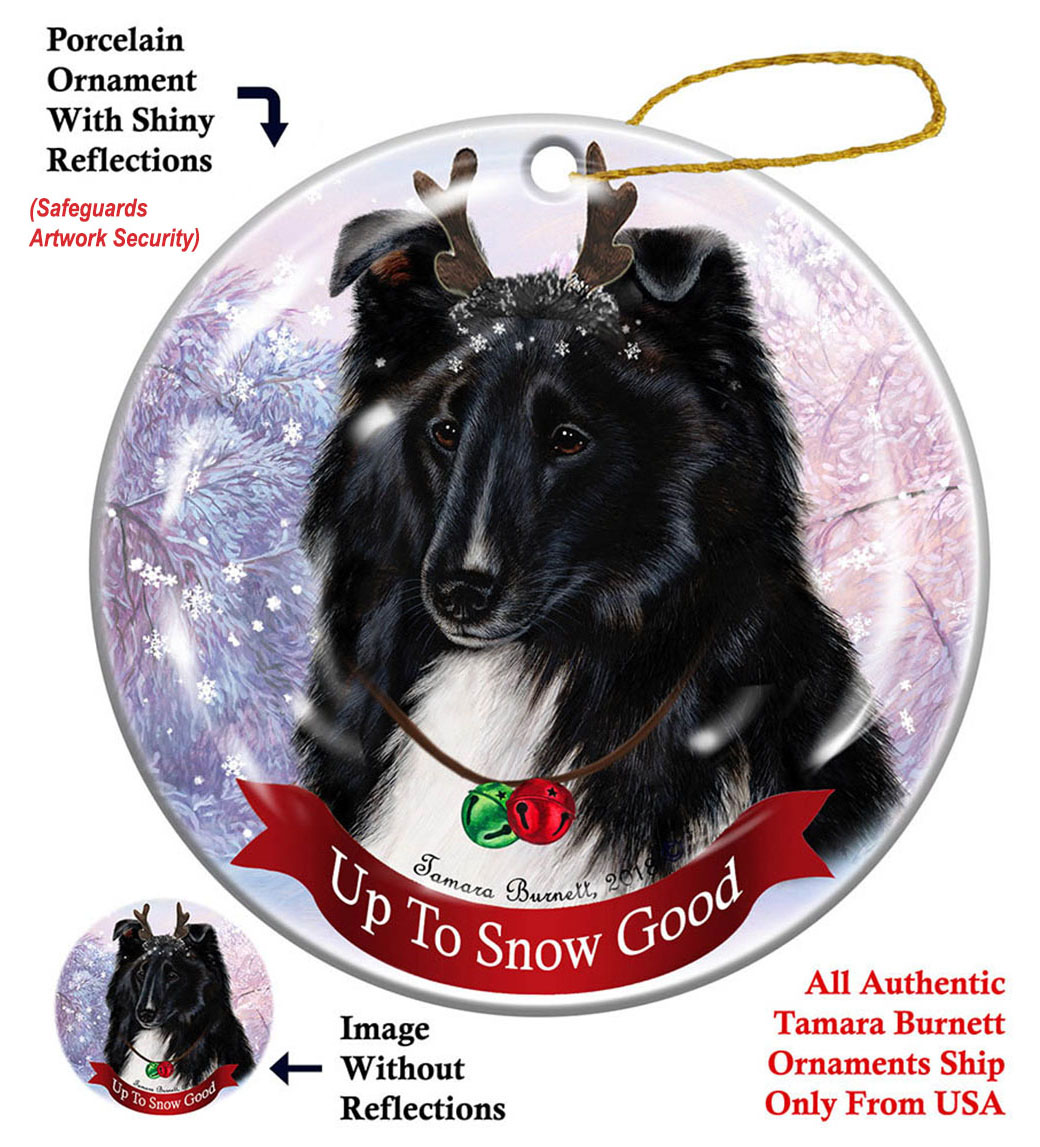 Sheltie Black/White - Up To Snow Good Ornament Image